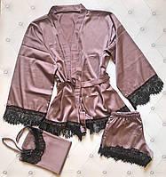 Женский комплект для сна 3-ка топ шорты халат ткань армани шелк кружево цвет мокко, фото 1