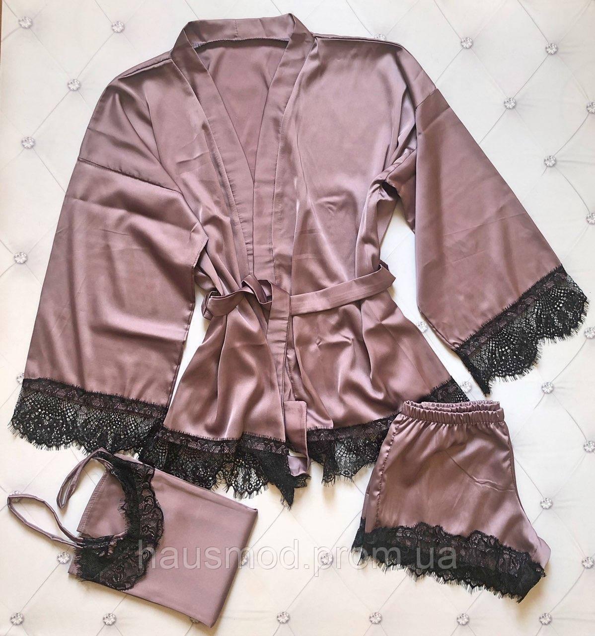 Женский комплект для сна 3-ка топ шорты халат ткань армани шелк кружево цвет мокко