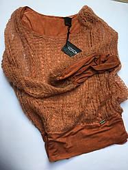 Свитер женский ажурный теракотовый с люрексом и шарфиком Coconuda