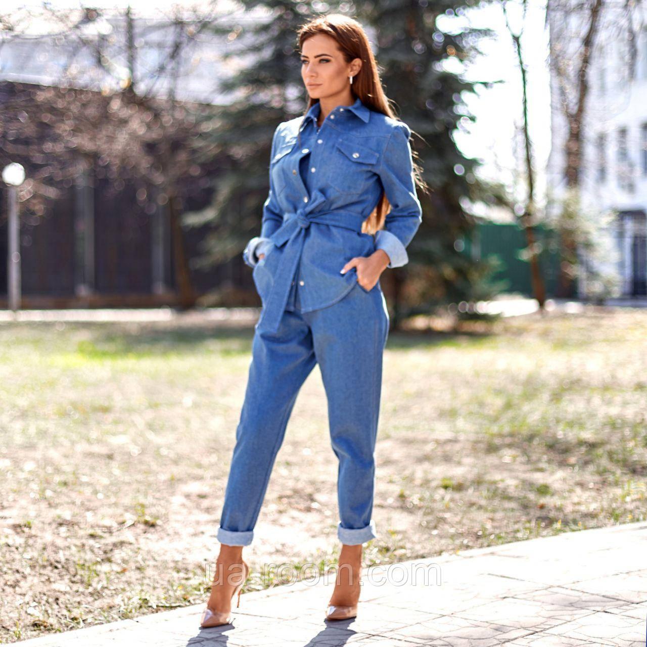 Стильный женский костюм 3 в 1: брюки+топ+пиджак №554