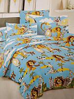 """Детский полуторный комплект постельного белья """"Мадагаскар"""" на голубом фоне"""