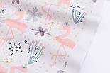 """Хлопковая ткань с цифровой печатью """"Фламинго с цветком"""" на белом №2442с, фото 2"""