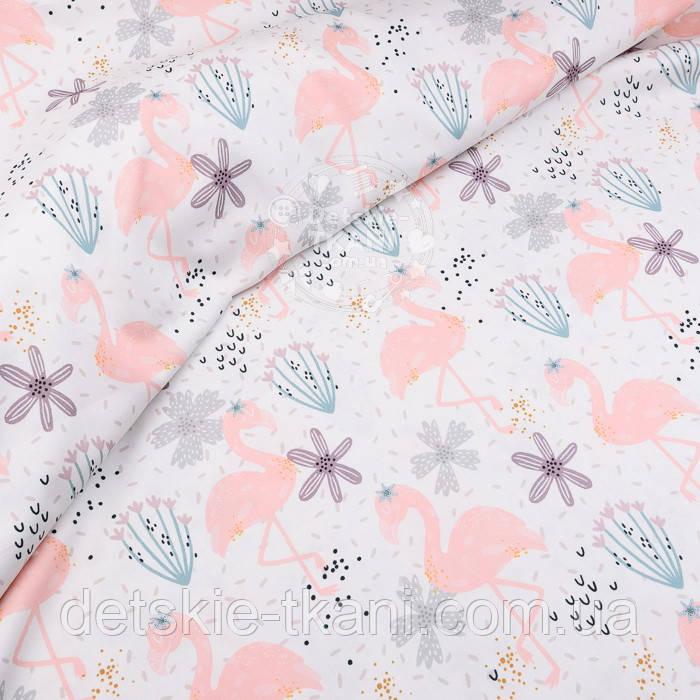 """Хлопковая ткань с цифровой печатью """"Фламинго с цветком"""" на белом №2442с"""