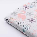 """Хлопковая ткань с цифровой печатью """"Фламинго с цветком"""" на белом №2442с, фото 5"""