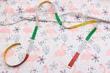 """Хлопковая ткань с цифровой печатью """"Фламинго с цветком"""" на белом №2442с, фото 3"""