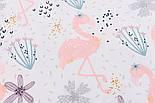 """Хлопковая ткань с цифровой печатью """"Фламинго с цветком"""" на белом №2442с, фото 4"""