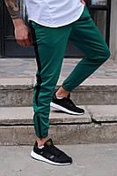 Мужские спортивные штаны с лампасами  Rocky ТУР черно-зеленые на резинке зауженные молодежные