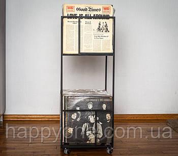 Металевий контейнер для зберігання пластинок Вікна в музику (2-х рівневий)