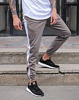 Спортивные штаны зауженные мужские  Rocky ТУР серо-белые с лампасами на резинке зауженные молодежные