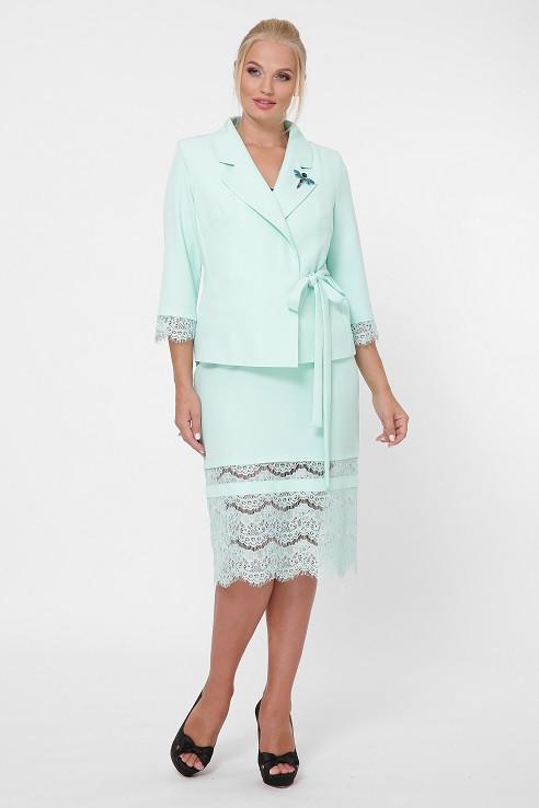 Модный костюм с юбкой Эдит мята (52-56)