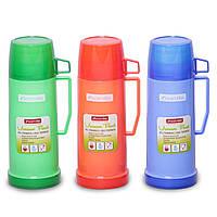 Питьевой термос Kamille KM-2072 1000 мл пластиковый зеркальная колба с 2 чашками