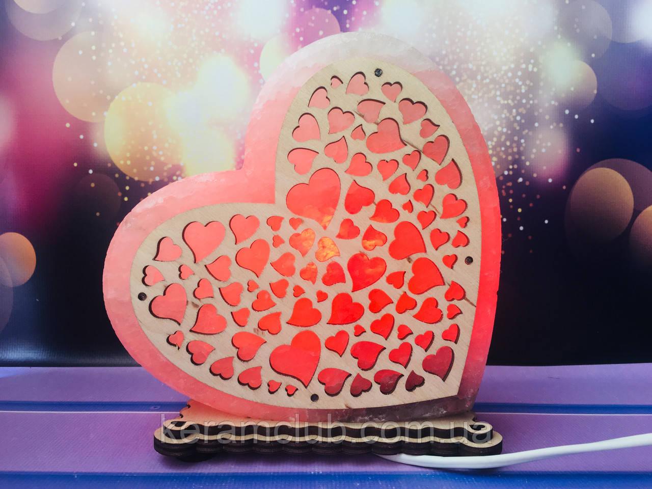 Соляная лампа Сердце большое 18*17*6 см