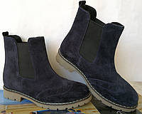 Женские синие ботинки из натуральной замши в стиле Timberland