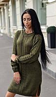 Теплое вязанное платье хаки ЛЧ012/05, фото 1