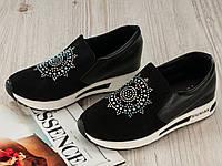 Черные женские кроссовки на танкетке 36 38 маломерят