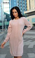Теплое вязанное платье розовое ЛЧ012/01, фото 1