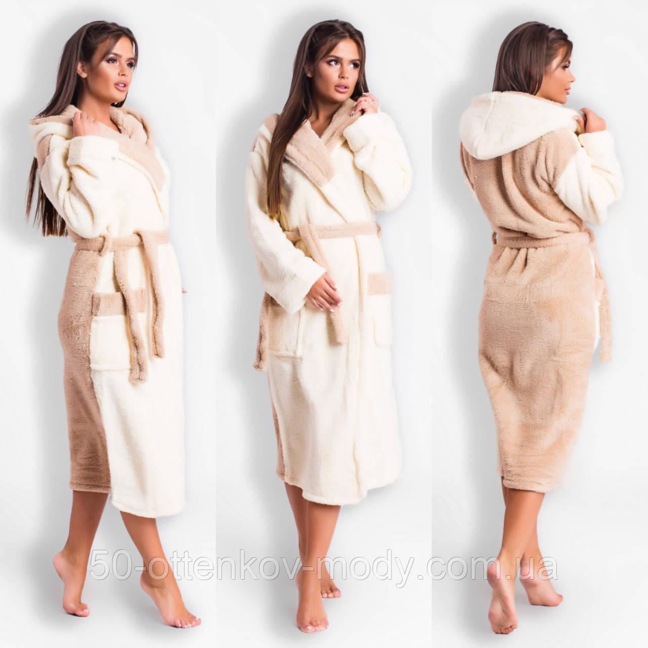Женский теплый махровый халат с двойным капюшоном (турецкая махра) + большие размеры