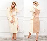 Женский теплый махровый халат с двойным капюшоном (турецкая махра) + большие размеры, фото 2