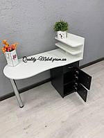 Белый стол для маникюра с черной тумбой