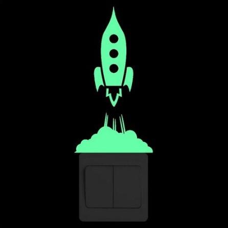 """Люминесцентная наклейка """"Ракета"""" - 10*10см"""