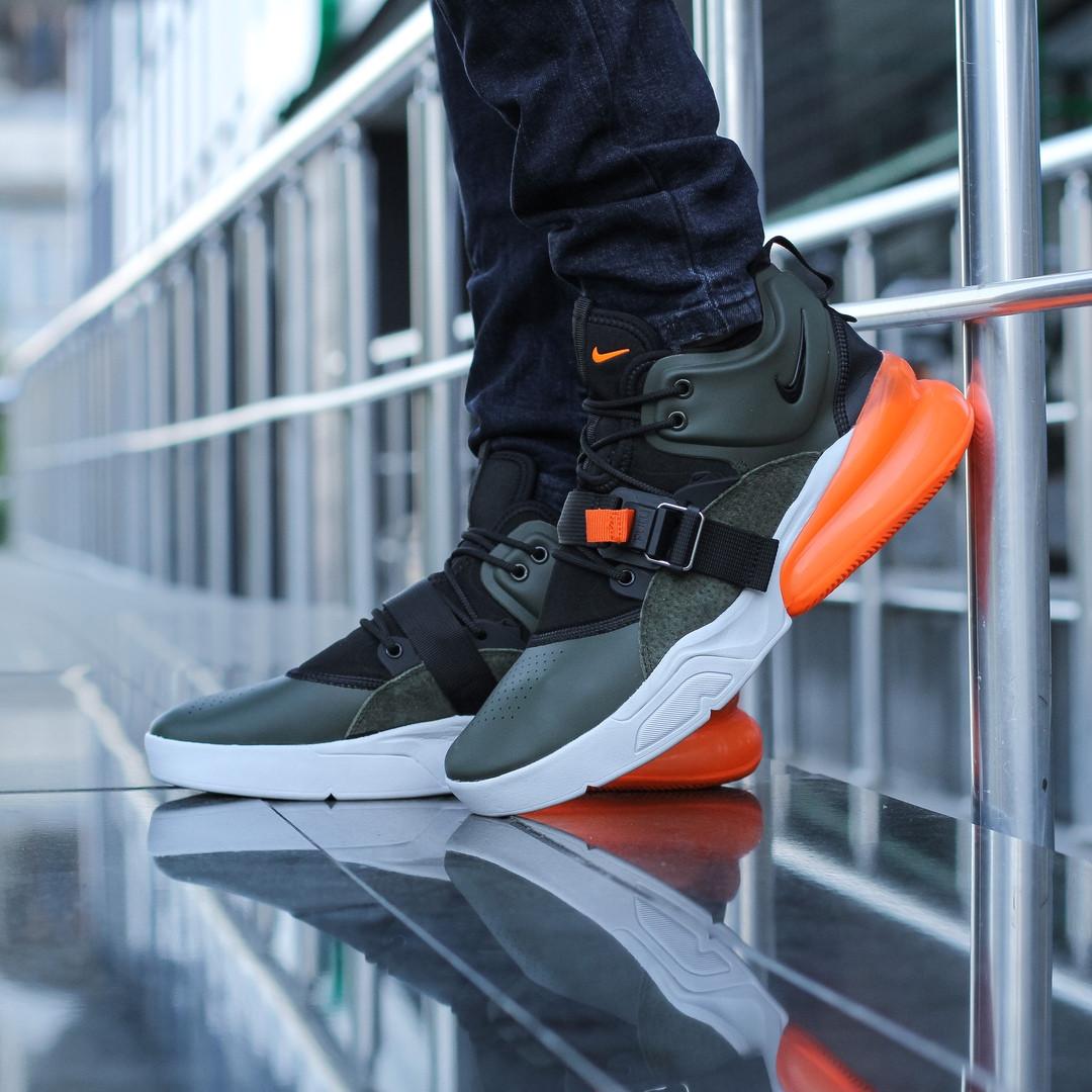 """Кроссовки Nike Air Force 270 """"Черные\Хаки\Оранжевые"""""""