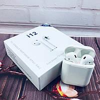 Беспроводные Bluetooth наушники Mdr Double i12 BT Sensor с кейсом, фото 1
