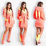 Жіночий набір: теплий махровий халат з вушками і чобітки (турецька махра) + великі розміри, фото 4