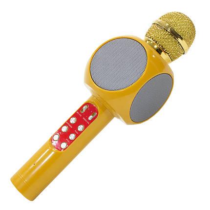 ☜Беспроводной микрофон Micgeek WS-1816 Горчичный с блютуз TF/USB/FM радио 1800 мАч караоке музыкальный, фото 2