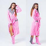 Женский набор: теплый махровый длинный халат и сапожки (турецкая махра) + большие размеры, фото 4