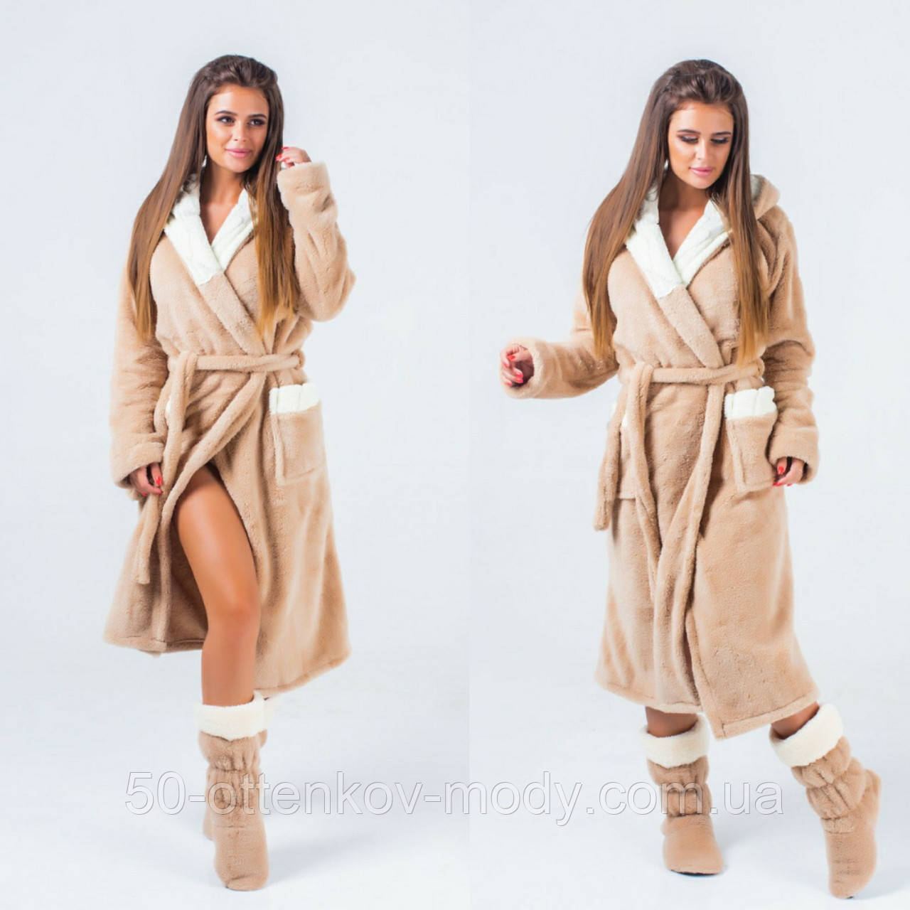 Женский набор: теплый махровый длинный халат и сапожки (турецкая махра) + большие размеры