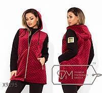 Демисезонная велюровая куртка женская с капюшоном ТЖ/-016 -Бордо, фото 1