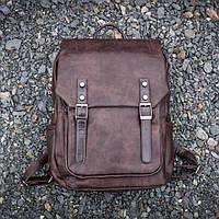 Вместительный кожаный городской мужской рюкзак mod.WNDR коричневый, на 18л для ноутбука, планшета