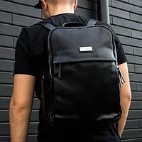 Универсальный мужской кожаный рюкзак Dovili Milano черный, городской, для ноутбука на 20л портфель