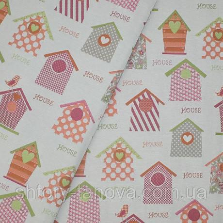 Гобеленовая ткань с детским рисунком, Декор домики фуксия/оранж фон крем, материал для подушек на диван