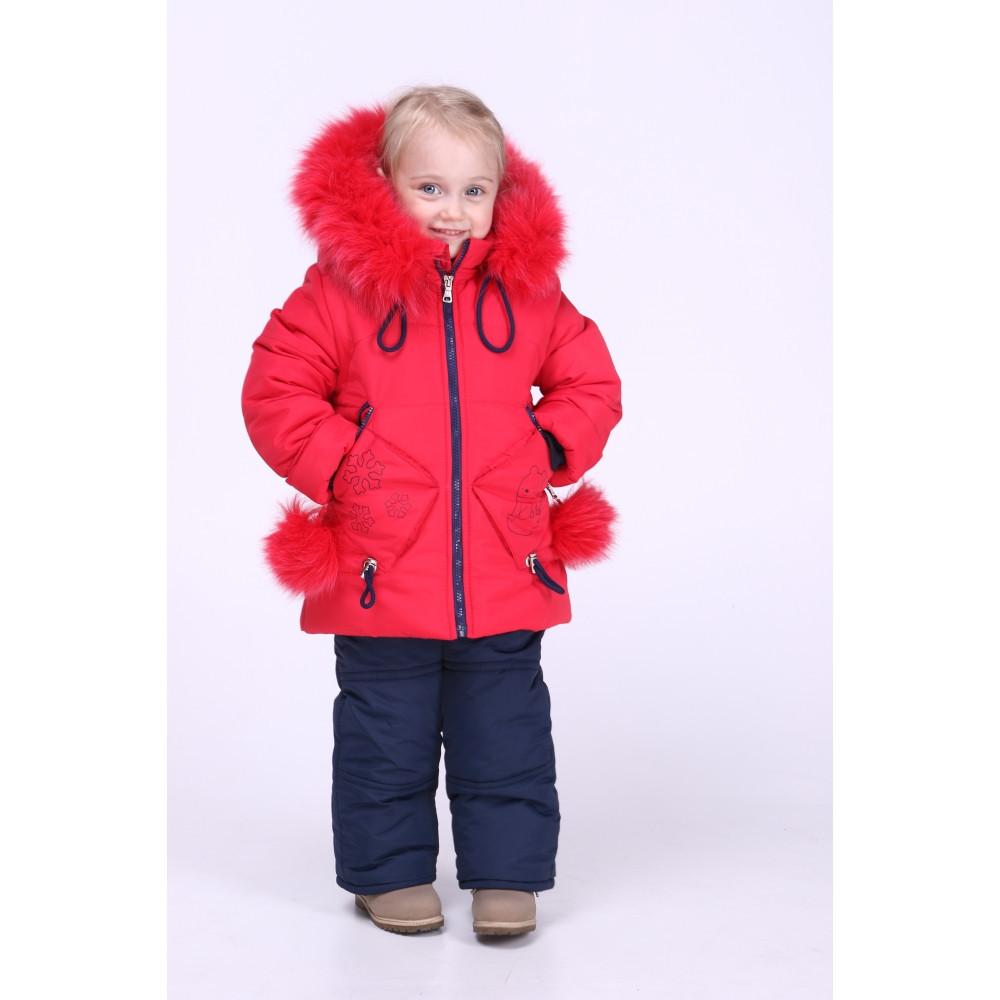 Детский комбинезон зимний девочка   24-30 красный