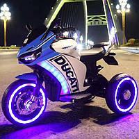 Детский мотоцикл 053 Ducati, кожа, свет колёс, дитячий електромобіль, синий