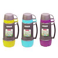 Пластиковый термос для напитков Kamille KM-2079 600 мл с ручкой и двумя чашками