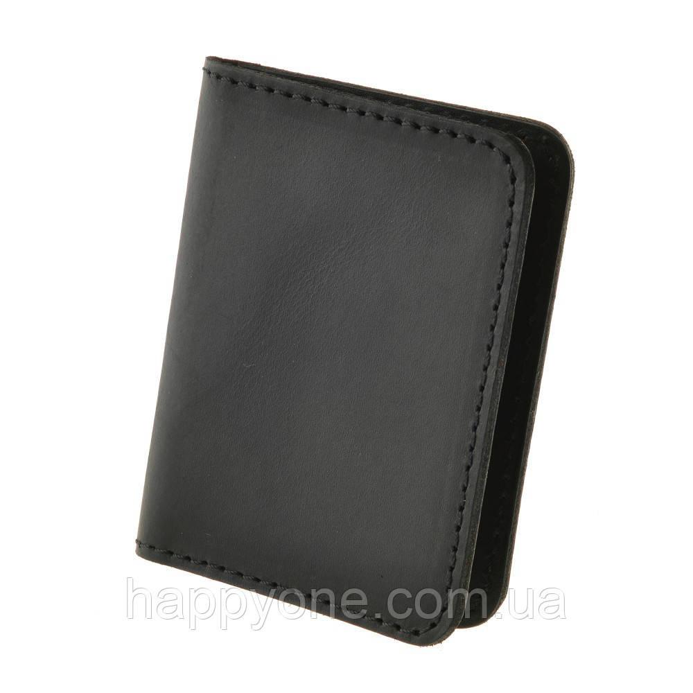 Кожаная обложка для прав или id-паспорта 4.0 (черная)
