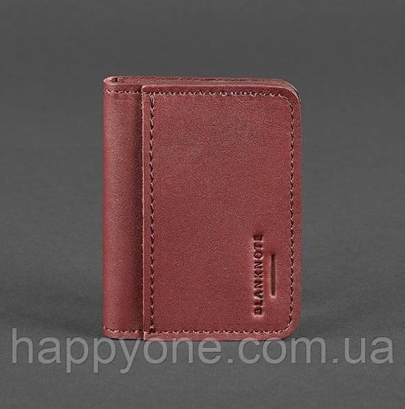 Кожаная обложка для прав или id-паспорта 4.0 (бордовая)