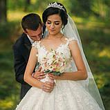 Обруч діадема з романтичними завитками та бусинками та кришталиками (5,4см), фото 4
