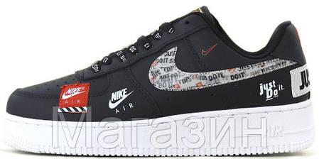 Мужские кроссовки Nike Air Force 1 '07 Black (Hайк Аир Форс низкие) черные, фото 2