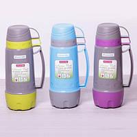 Прочный питьевой термос пластиковый со стеклянной колбой Kamille KM-2080 1000 мл