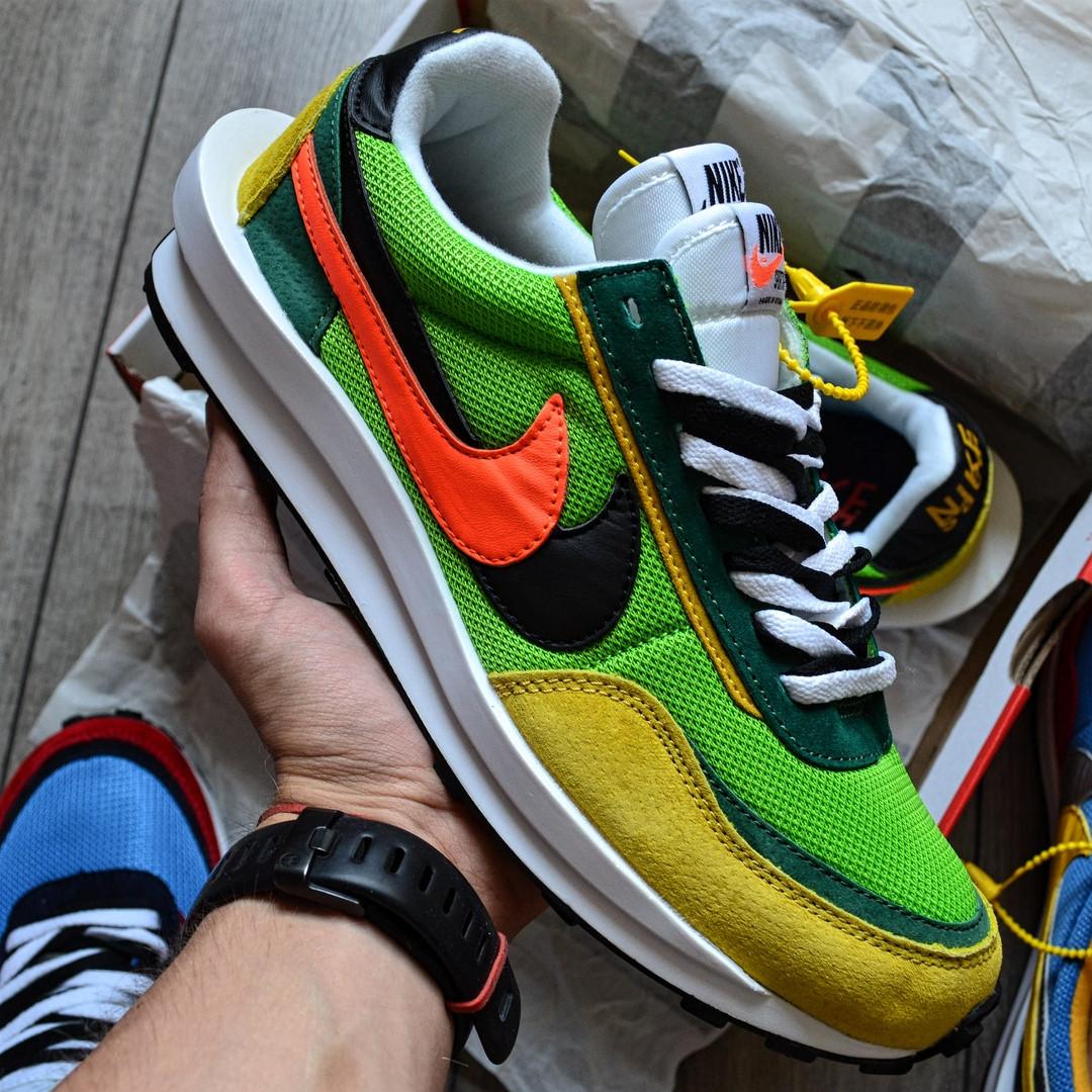 """Кроссовки Nike LD Waffle Sacai """"Зеленые\Желтые\Оранжевые"""""""