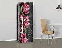 Виниловая наклейка на холодильник Бордовые орхидеи на черном фон ламинированная двойная, лицевая, 600*2000 мм