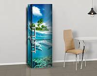 Виниловая наклейка на холодильник Дельфины и тропический остров ламинированная двойная, лицевая, 600*2000 мм