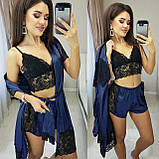 Женская домашняя пижама, шелковый халат, кружевной топ и шелковые шорты с кружевными вставками, фото 6