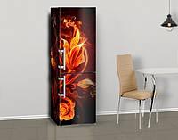 Виниловая наклейка на холодильник Огненные цветы и узоры ламинированная двойная, лицевая, 600*2000 мм