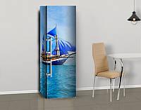 Виниловая наклейка на холодильник Корабль с голубыми парусами ламинированная двойная, лицевая, 600*2000 мм