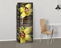 Виниловая наклейка на холодильник Желтые крупные орхидеи ламинированная двойная, лицевая, 600*2000 мм