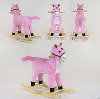 Качалка-конячка, для дівчинки, зі світловими і звуковими ефектами, код 08001